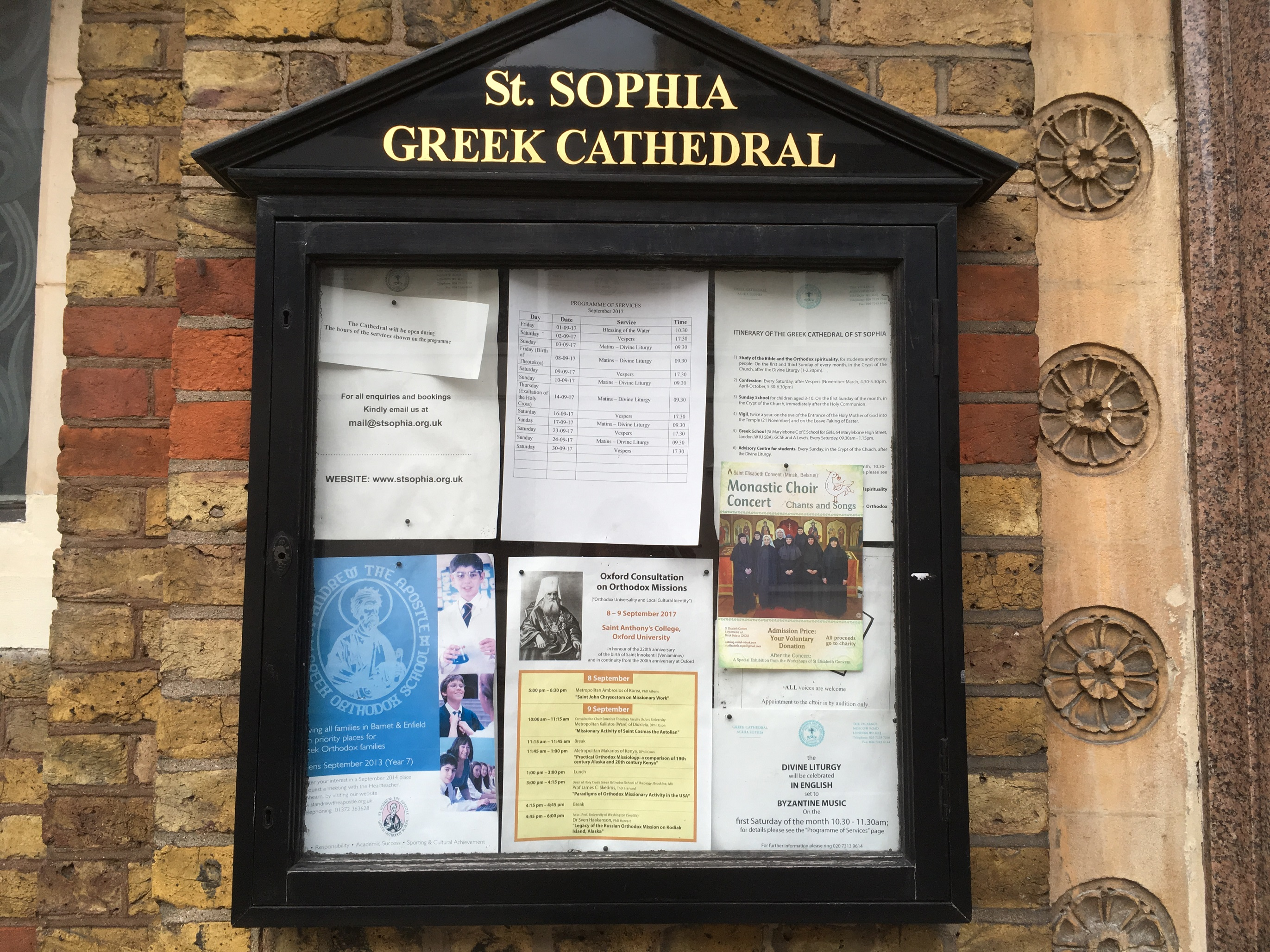 St. Sophia Greek Cathedral notice