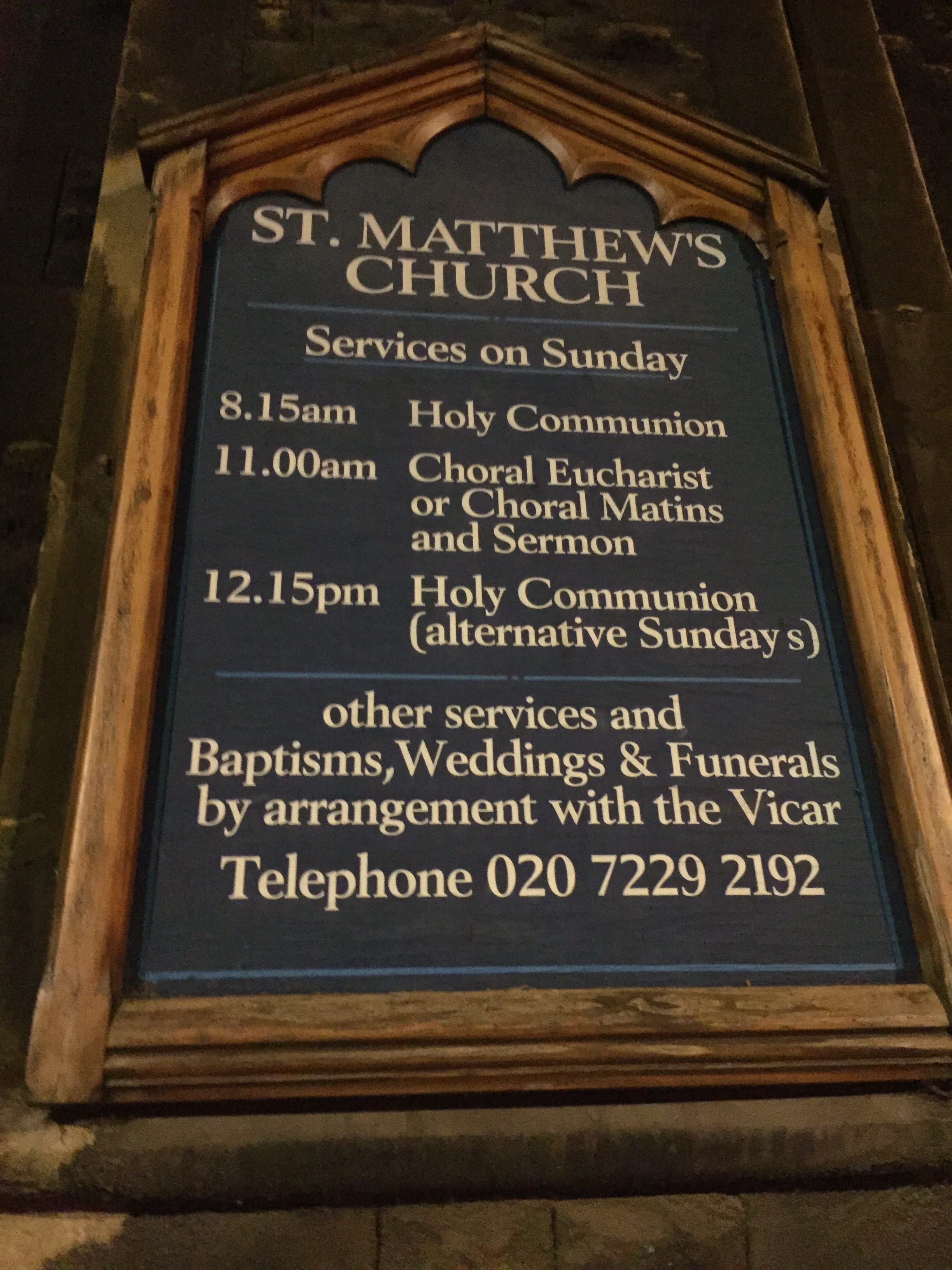 St. Matthew's Church notice